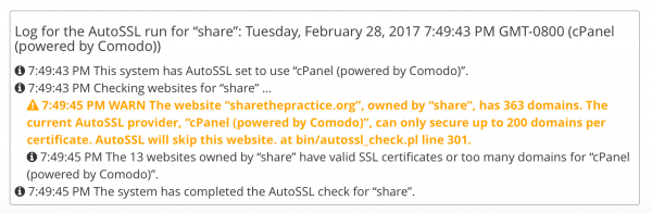 200 domain limit reached in cPanel for AutoSSL
