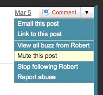 Google Buzz mute this post